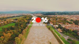 Arno in piena nel 2019. Screenshot di un video inedito a breve disponibile sul canale youtube del progetto Firenze2016
