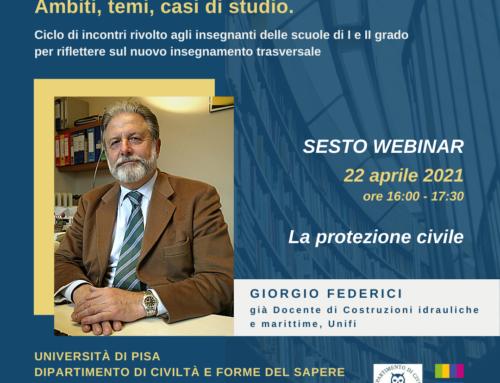 """""""L'insegnamento dell'Educazione Civica"""" – webinar a cura del Professore emerito Giorgio Federici con UNIPI"""