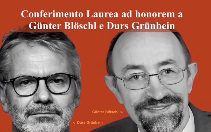 Conferimento Laurea ad honorem a Günter Blöschl e Durs Grünbein